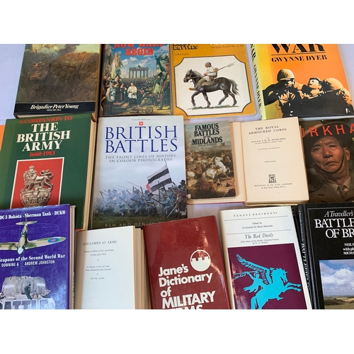 255 - Collection of books on Weapons, Warfare, Battles and Regiments