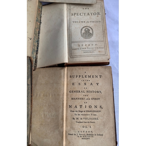 293 - Quantity of Antiquarian books in need of repair including: The Spectator - Volume The Third 1744, Th...