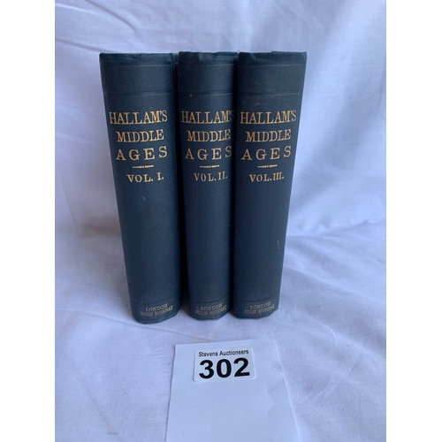 302 - View Of The State Of Europe During The Middle Ages (Hallam) 3 Vols 1878.