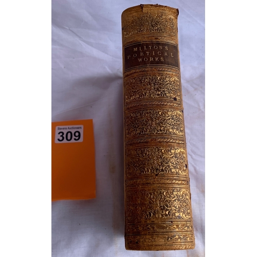 309 - The Poetical Works of John Milton edited by Sir Egerton Brydes. A new edition published by William T...