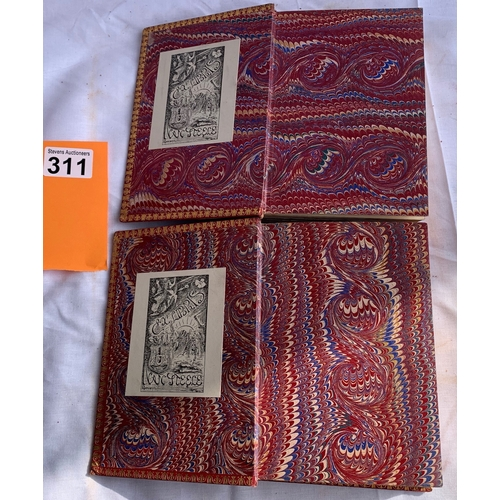 311 - 2 x circa 1870's red leather bound books comprising The Poetical Works of Robert Burns etc