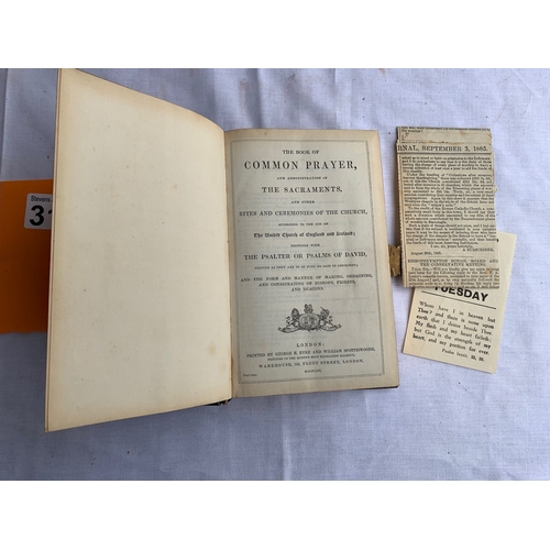 314 - The Book of Common Prayer  1856. Edged in brass with excellent working brass clasp