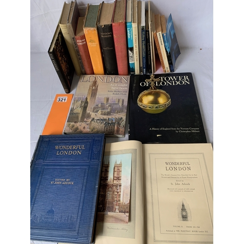321 - Good collection of vintage books on London