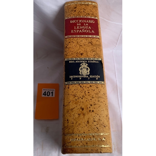 401 - Diccionario De la Lengua Espanola - 1978. Impressive volume with cork boards