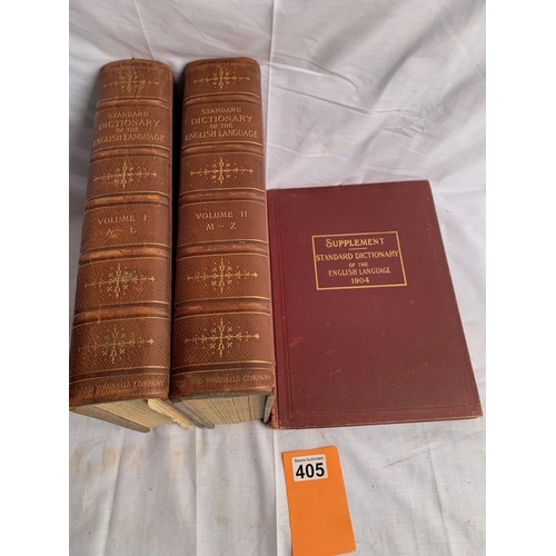 405 - Standard Dictionary of the English Language - Funk & Wagnalls 2 Vols 1902 plus Supplement 1904