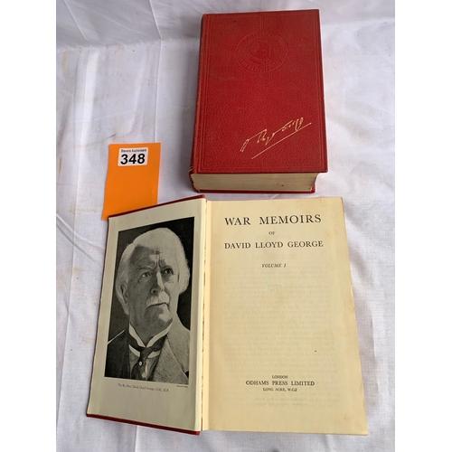 348 - War memoirs of David Lloyd George - 2 Volumes Odhams Odhams Press, 1938. Hardback. Condition: Good s...