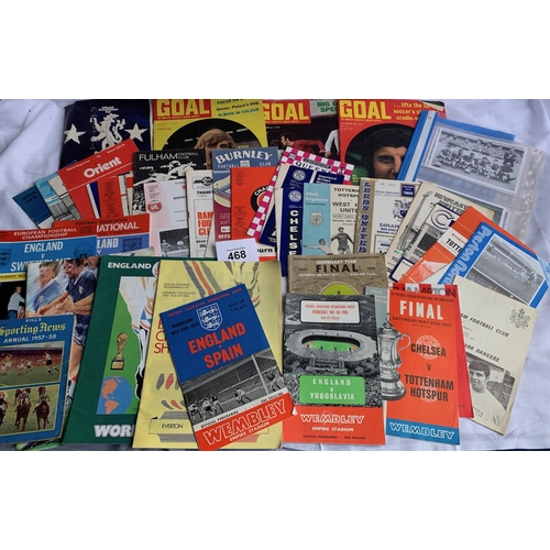 468 - Vintage Football Programmes inc: Club, Cup and Internationals - Mostly 1960s