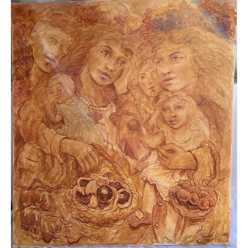 483 - Baccus and the Hedgerow Maidens - Very large 20th Century School - unframed canvas.