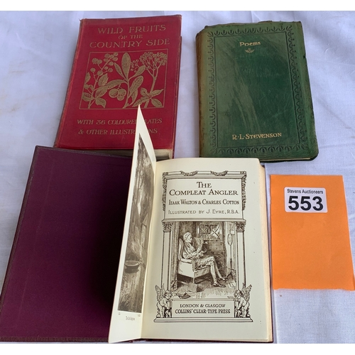 553 - Wild Fruits of the Countryside - 36 colour plates (Hulme) 1920s plus The Compleat Angler etc