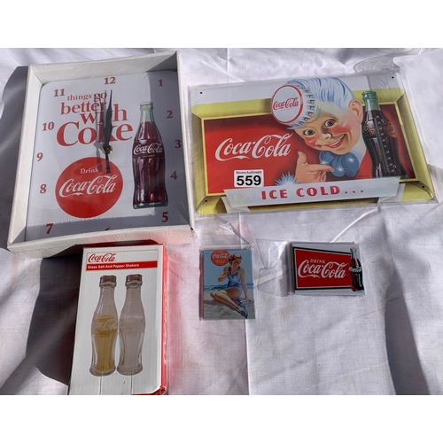 559 - Qty of collectable new Coca-Cola items inc: Wall clock, thermometer tin sign, salt & pepper etc