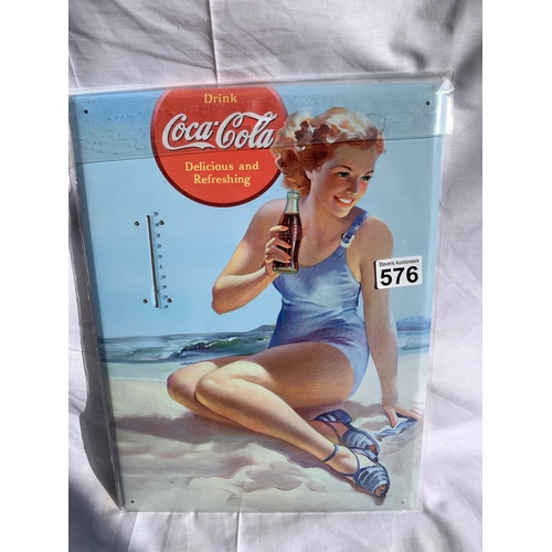 576 - New Large Tin Coca-Cola Thermometer Wall sign - Home Bar/Man cave?