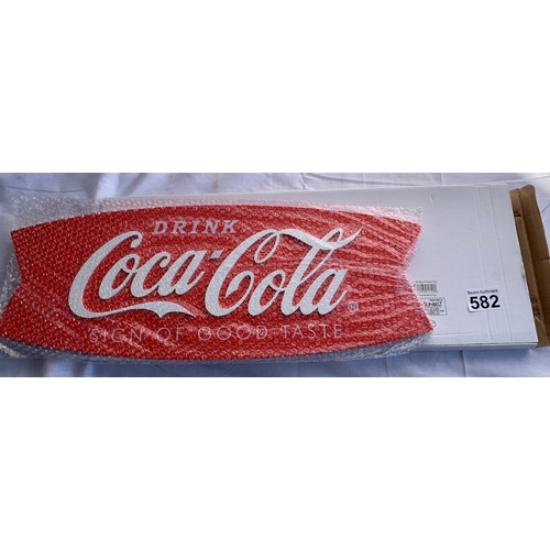 582 - Boxed new wooden Coca-Cola wall sign. Home bar/Man cave?