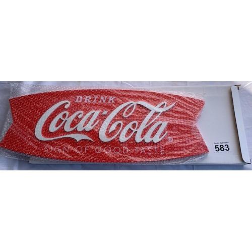 583 - Boxed new wooden Coca-Cola wall sign. Home bar/Man cave?