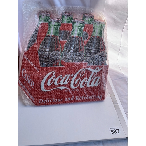 587 - Boxed new wooden large Coca-Cola bottles wall sign. Home bar/Man cave?