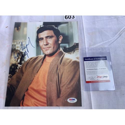 603 - Signed Promotional James Bond photograph - George Lazenby Sized 20 x 26cm