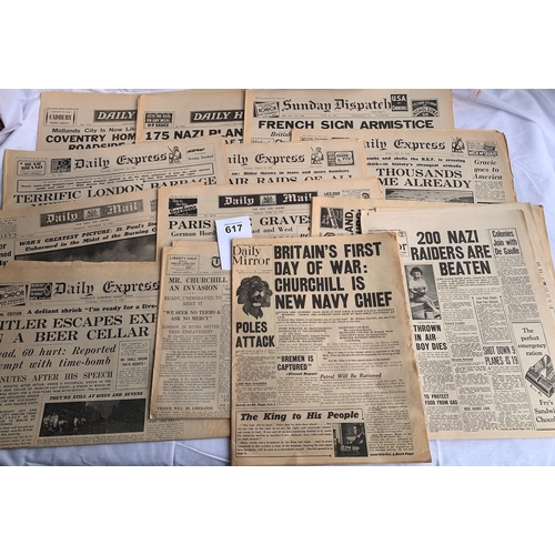 617 - Original Second World War Newspaper Collection -  Years 1939/40