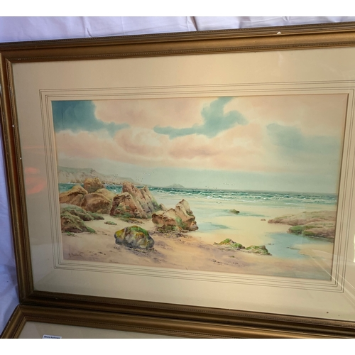631 - 2 Cornish coatal watercolours by A Binbeck 74 x 56cm Frames