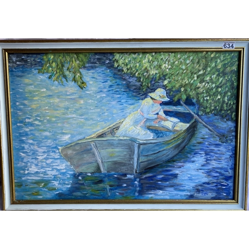 634 - Oil Painting - Woman in Boat 82 x 59cm Frame size