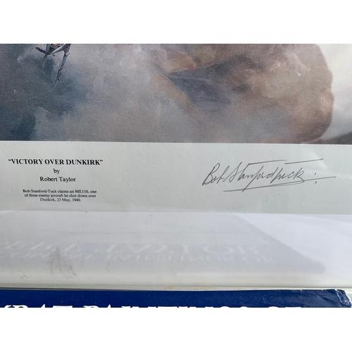 637 - Robert Taylor Dunkirk Spitfire Print- signed by pilot Bob Stanford-Tuck etc