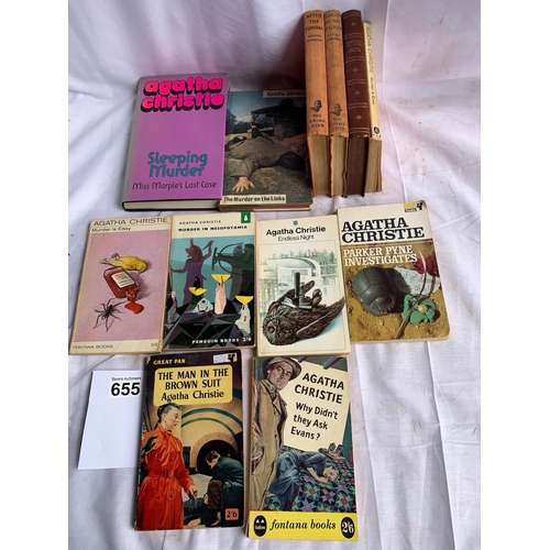 655 - Collecton of vintage hardback and paperback Agatha Christie Novels