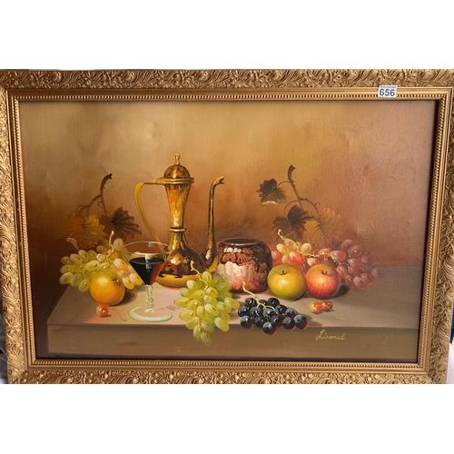 656 - Large Oil still life with gilt coloured frame, signed Lionel 102 x 73cm