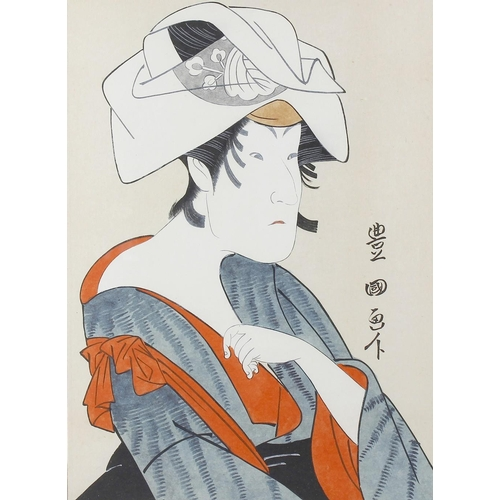 110 - A group of six framed Japanese woodblock prints, to include five similar sized examples each depicti...