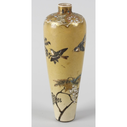 119 - A miniature Japanese Meiji period satsuma vase, of slender baluster form, having painted decoration ...