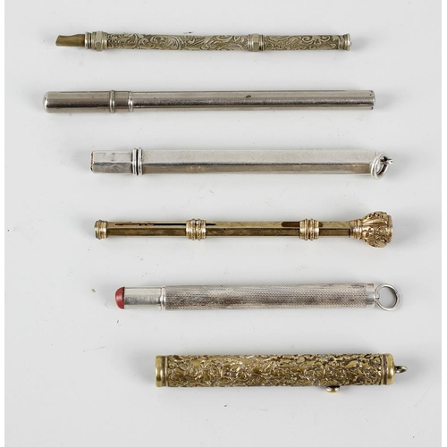 137 - Six pencils, to include a Sampson Mordan & Co silver pencil, the hexagonal plain body hallmarked Bir...