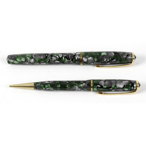 159 - A Burnham fountain pen and retractable pencil set, each with green and grey marble effect body, in m...