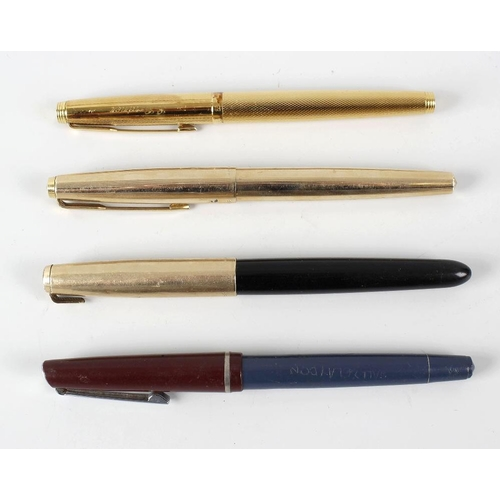 161 - A box containing a Parker Duofold fountain pen with 14k gold nib, other various pens, an Old hall St...