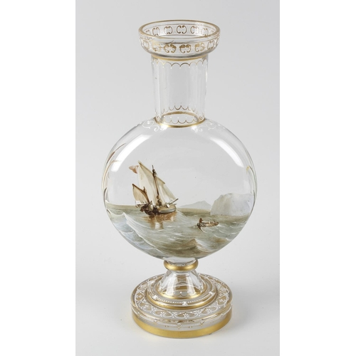 18 - Polar Exploration interest: An unusual Victorian painted glass vase, of flask form with tall flared ...