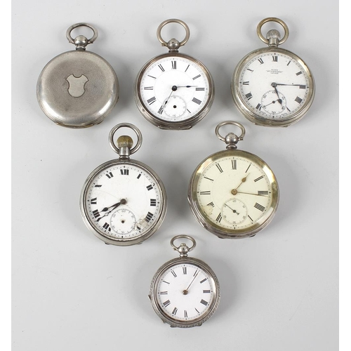 187 - A bag containing seven various crown wind, key wind pocket watches and fob watches, to include some ...