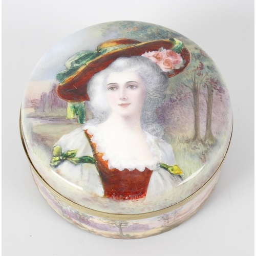 195 - A Limoges circular enamel box and cover, the cover decorated with a head and shoulder portrait depic...