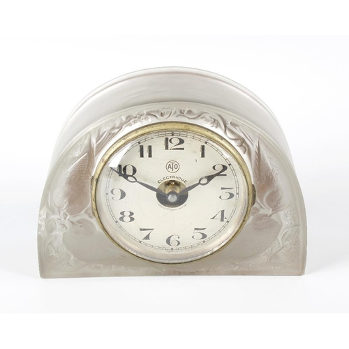 2 - A rare Rene Lalique 'Moineaux' pattern glass mantel clock, of semicircular section, decorated with t...