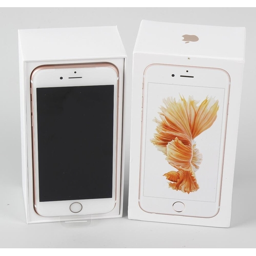 204 - A brand new Apple iPhone 6s, Rose Gold, 128MB, (arrived sealed, contents checked), in box of issue. ...