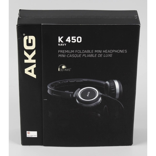 206 - A boxed and unopened pair of AKG K450 folding mini headphones.  <br>Sealed as new, untested, non-ret...