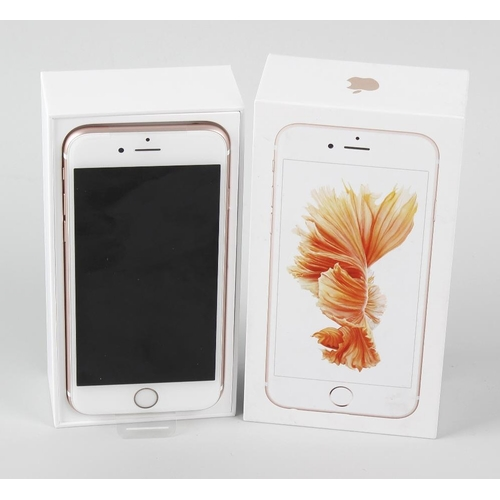 207 - A brand new Apple iPhone 6s, Rose Gold, 128MB, (arrived sealed, contents checked), in box of issue. ...