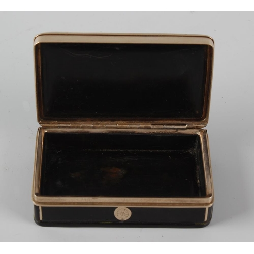 214 - A tortoiseshell and 'rose gold' snuff box, of rectangular form, the hinged cover with central oval c...