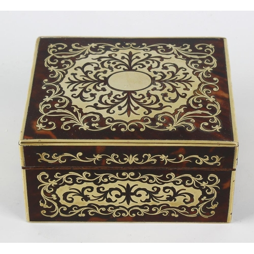222 - A 19th century red boulle box, of rectangular form with inlaid foliate scrollwork design to the whol...