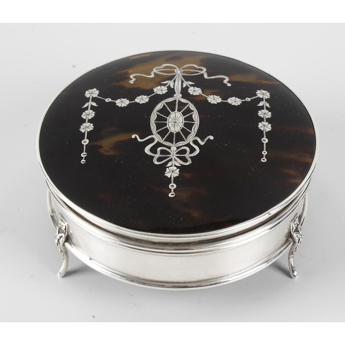 224 - A silver and tortoiseshell box, the silver body of circular form hallmarked Birmingham 1945, with hi...