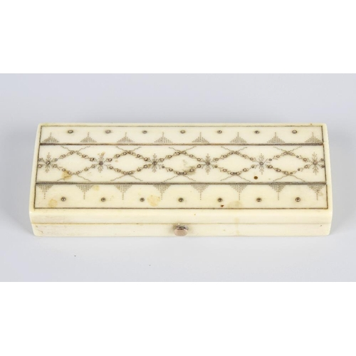 231 - An ivory and pique work box, of rectangular form, the hinged cover with canted edges and pique work ...