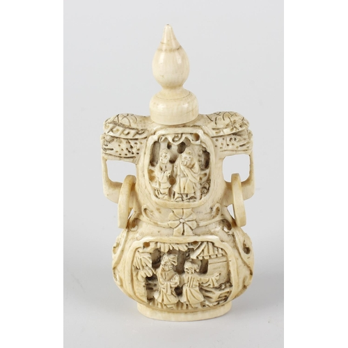 241 - A Chinese Canton carved ivory snuff bottle, of gourd form, carved in relief with panels of figures b...