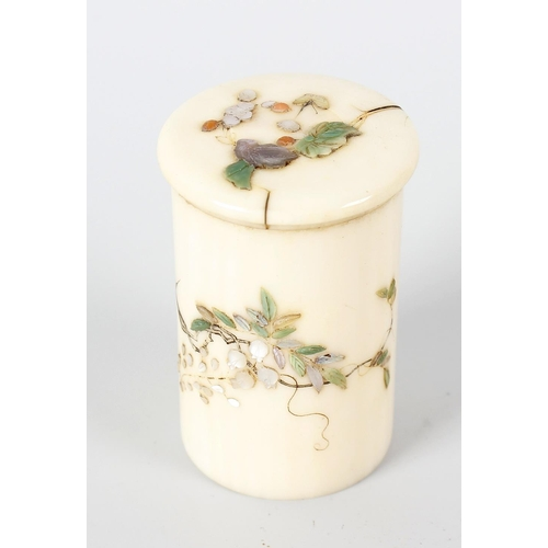 242 - A 19th century Japanese, ivory cylindrical pot and cover with shibayama inlaid decoration depicting ...