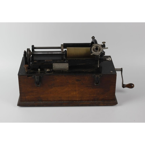 251 - A Thomas Edison phonograph with single cylinder, in wooden case with carry handle, inscribed Edison ...