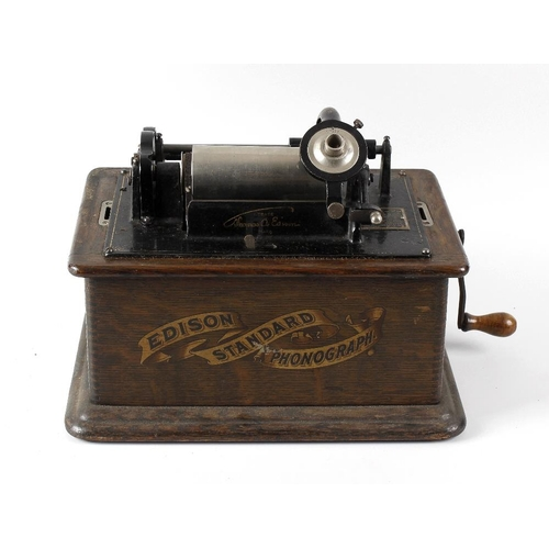252 - A Thomas Edison phonograph with single cylinder, in wooden case with carry handle, inscribed Edison ...