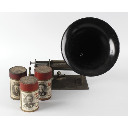 253 - A group of ten Edison phonograph rolls, together with a phonograph single cylinder mechanism and hor...