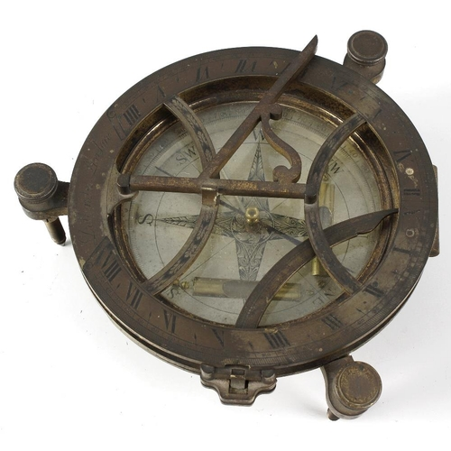 256 - A rare brass equinoctial compass and sundial by Dolland of London. The hinged 6-inch sundial ring, e...