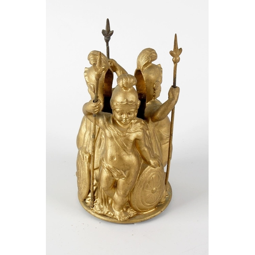 260 - A 19th century cast bronze finial, modelled as three young males in classical dress with military he...