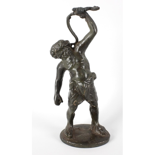 263 - A 19th century Grand Tour bronze figure modelled as Silenus, holding aloft a serpent, upon an oval b...