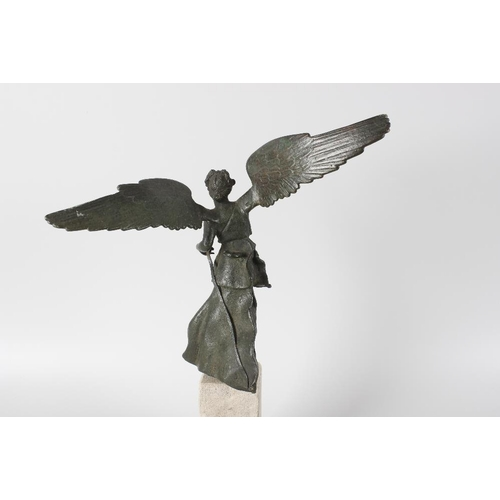 270 - A 19th century bronzed Grand Tour figure modelled as 'Winged Victory', standing upon a square column...